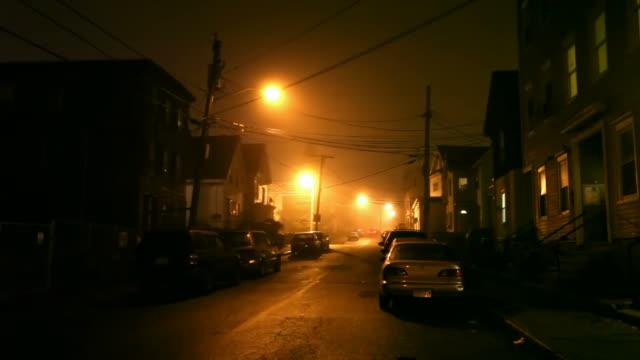 dark foggy city street - lowell stock videos & royalty-free footage