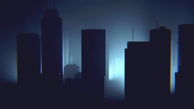 dark foggy futuristic cityscape - colony group of animals stock videos & royalty-free footage