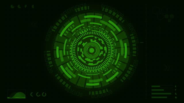 vídeos de stock e filmes b-roll de dark green digital eye technology concept animation - formato bidimensional