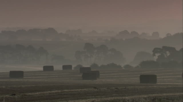 a dark haze blankets the east anglian countryside. available in hd. - イーストアングリア点の映像素材/bロール