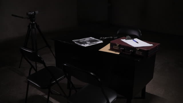 dark interrogation room - briefcase stock videos & royalty-free footage