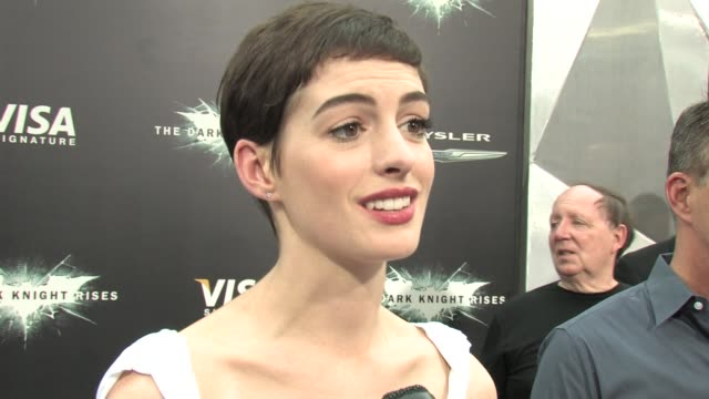 Dark Knight Rises Anne Hathaway interview at Lincoln Square Theater on July 16 2012 in New York NY