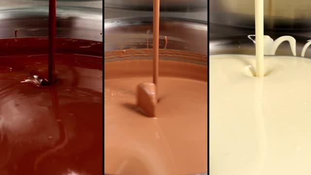 , Milch, dunkle und Weiße Schokolade wirbelnde