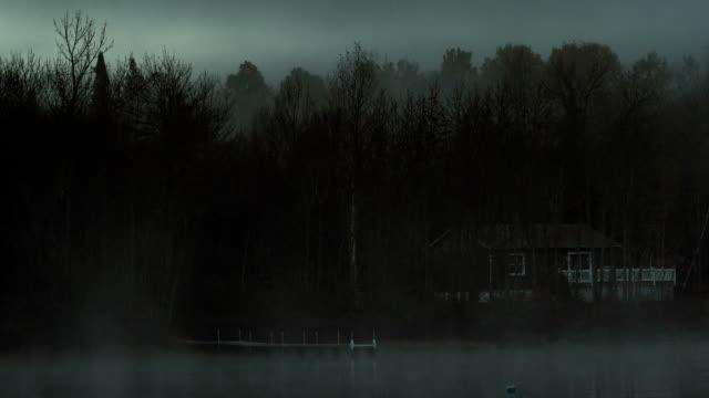 Dark misty lake loop