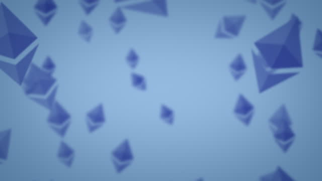 dark navy blue ethereum eth nft logo icon exploding outwards alpha luma matte - blockchain stock videos & royalty-free footage