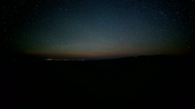 dark night sky and day to night sunrise kiger gorge summit of steens mountain with lights of the city of burns in the distance near malheur national wildlife refuge - oregon us state stock videos and b-roll footage