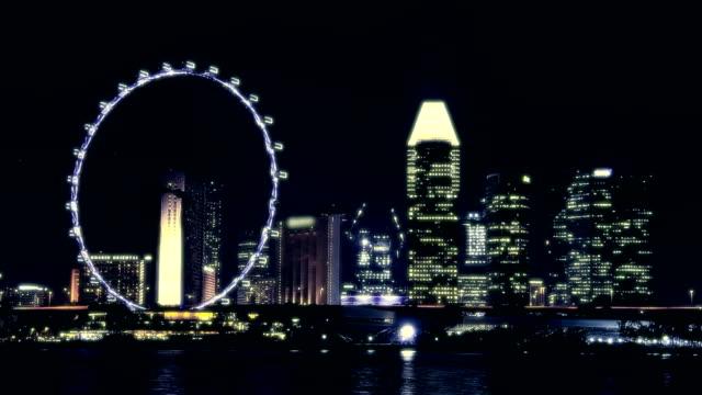 dark night - singapore flyer stock videos and b-roll footage
