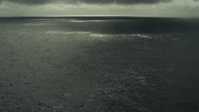 Dark North Pacific Ocean Seascape Under Overcast Sky