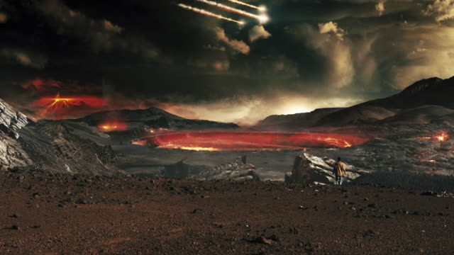 dark scenery of devastated planet. woman looking at volcanoes and meteors - volcano stock videos & royalty-free footage