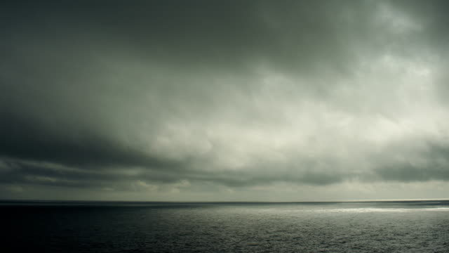 Dark Seascape With Heavy Clouds Over North Pacific Ocean