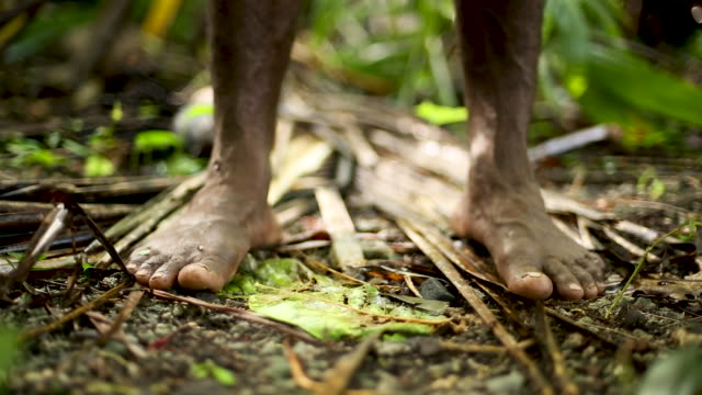 Dark skin feet standing on rainforest ground, rack focus