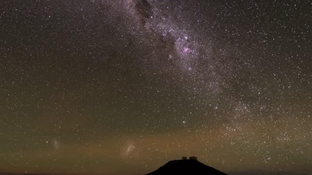dark starry sky of the atacama desert (tilt down) - cerro paranal stock videos and b-roll footage