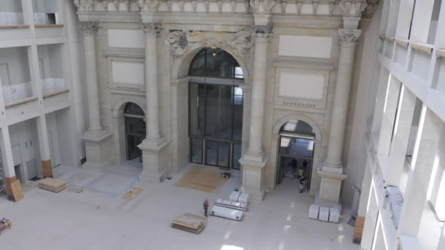 darkertoned pieces show original surviving elements in the central entrance hall of the humboldt forum stands under construction on june 17 2019 in... - berliner stadtschloss stock-videos und b-roll-filmmaterial