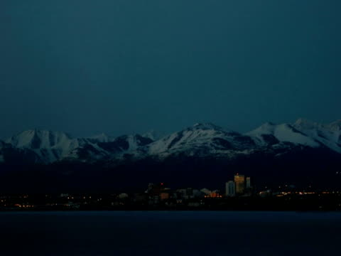 t/l darkness falling over woronzof, anchorage, alaska, usa - anchorage alaska stock videos & royalty-free footage