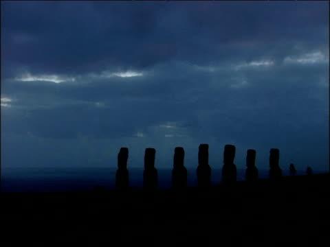 vídeos y material grabado en eventos de stock de darkness falls over moai statues easter island - polinesio