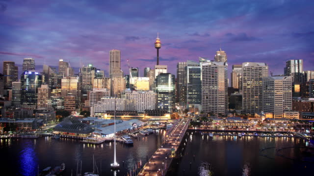 darling harbour, sydney, australia - cityscape stock videos & royalty-free footage