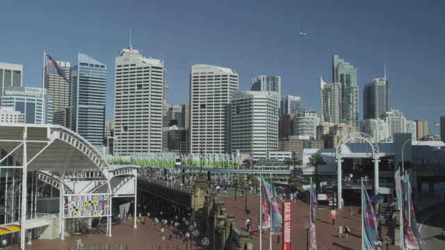 Darling Harbour with Mono Rail and the CBD, Sydney, New South Wales, Australia