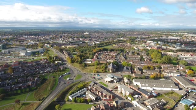 darlington, county durham aerial video with a roundabout. - county durham england stock videos & royalty-free footage