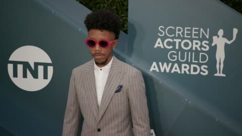 darrell britt-gibson at the 26th annual screen actorsguild awards - arrivals at the shrine auditorium on january 19, 2020 in los angeles, california. - screen actors guild stock videos & royalty-free footage
