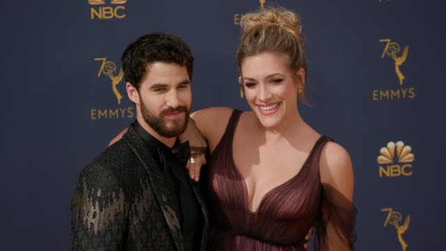 darren criss and mia swier at the 70th emmy awards arrivals at microsoft theater on september 17 2018 in los angeles california - 70th annual primetime emmy awards stock videos and b-roll footage