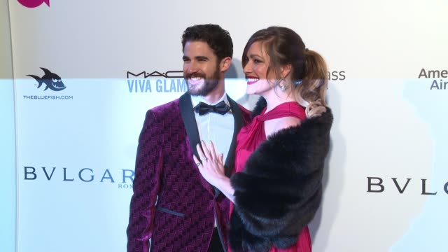 Darren Criss and Mia Swier at the Elton John AIDS Foundation Presents the 26th Annual Academy Awards Viewing Party on March 04 2018 in West Hollywood...