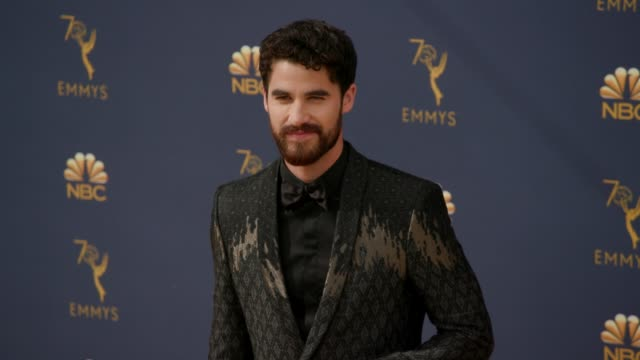 darren criss at the 70th emmy awards arrivals at microsoft theater on september 17 2018 in los angeles california - 70th annual primetime emmy awards stock videos and b-roll footage