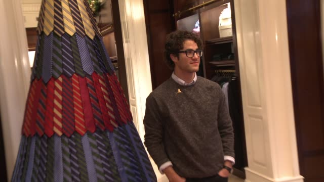 Darren Criss attends the Brooks Brothers holiday party with St Jude Children's Research Hospital at Brooks Brothers on Rodeo Drive on December 5 2015...