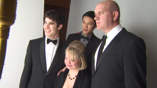 darren criss lauren potter and harry shum jr at the 68th annual golden globe awards backstage photo booth at beverly hills ca - keramiker stock-videos und b-roll-filmmaterial