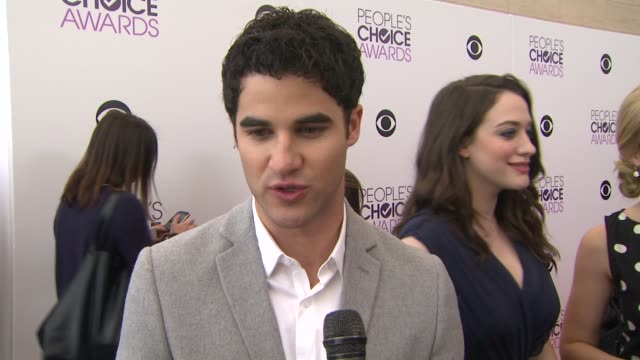 interview darren criss on being nominated and favorite fan experience at the 2014 people's choice awards nominations announcement in beverly hills... - people's choice awards stock videos & royalty-free footage
