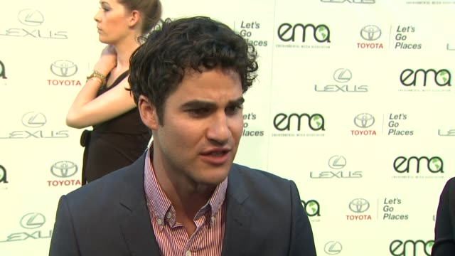 INTERVIEW Darren Criss on the EMA Awards 2013 Environmental Media Awards Presented by Toyota Lexus at Warner Bros Studios in Burbank CA on 10/19/13...