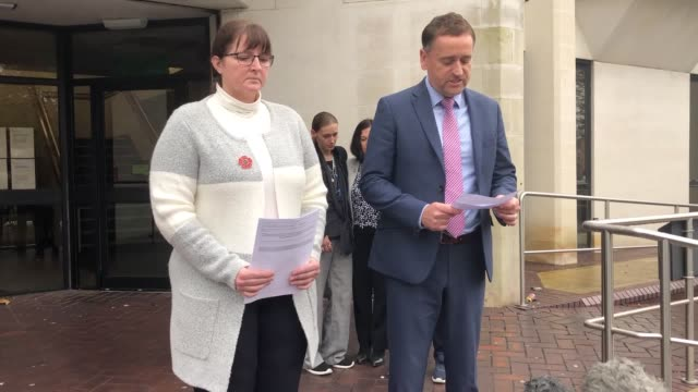 dci darren george and dc nicky billingham read statements outside swansea crown court after jason farrell is jailed for life with a minimum of 26... - jason george stock videos and b-roll footage