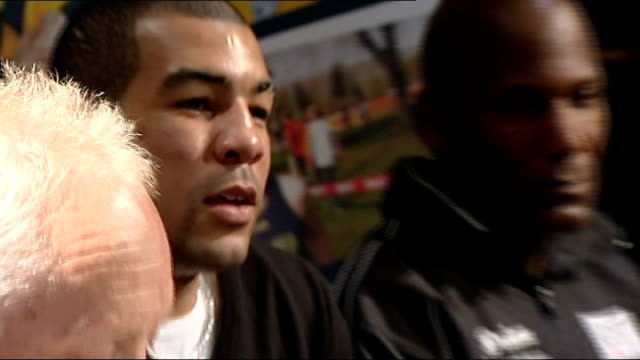 darren sutherland press conference maloney press conference sot **contains shaky camera work** pays tribute to training record of lawrence sutherland... - world title stock videos and b-roll footage