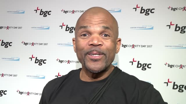 darryl 'dmc' mcdaniels on turning a sad event into something good, improvises a rap at annual charity day 2017 hosted by cantor fitzgerald & bgc on... - darryl mcdaniels stock videos & royalty-free footage