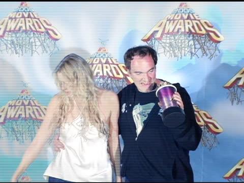Darryl Hannah and Quentin Tarantino winners of Best Fight for 'Kill Bill Vol 2' at the 2005 MTV Movie Awards press room at the Shrine Auditorium in...