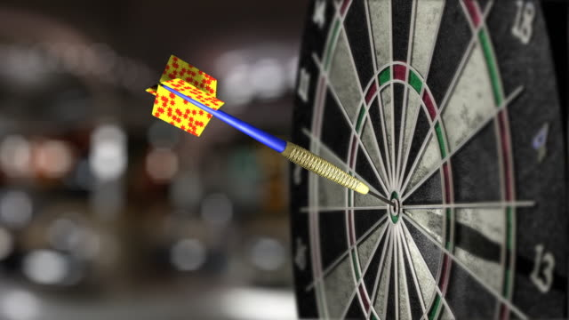 cu, selective focus, dartboard with dart in bull's-eye - sports target stock videos and b-roll footage