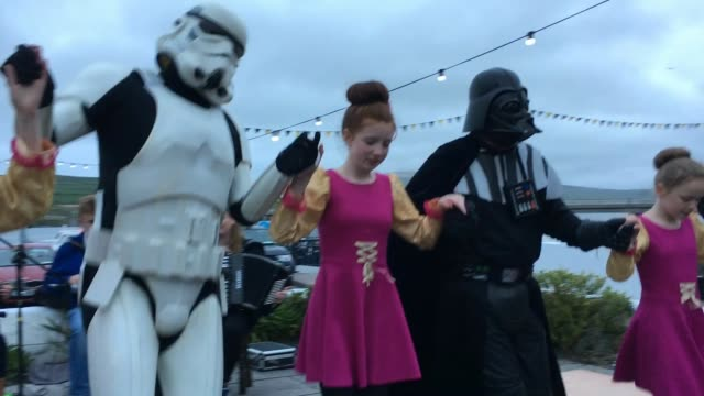 darth vader and storm trooper characters participate in irish dancing during the first ever star wars festival taking place against the backdrop of... - star wars stock videos & royalty-free footage