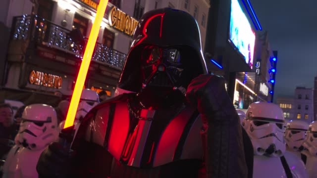 """darth vader at """"star wars: the rise of skywalker"""" - uk premiere at cineworld leicester square on december 18, 2019 in london, england. - star wars stock videos & royalty-free footage"""