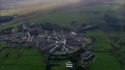 dartmoor prison  - aerial view - england, devon, west devon district, united kingdom - devon stock videos & royalty-free footage