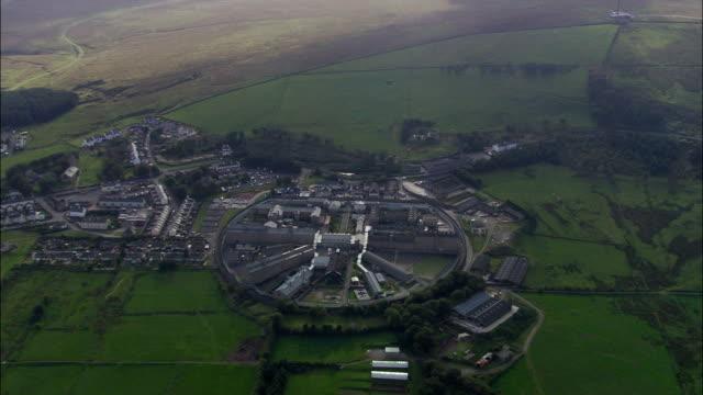 dartmoor prison  - aerial view - england, devon, west devon district, united kingdom - dartmoor stock videos & royalty-free footage