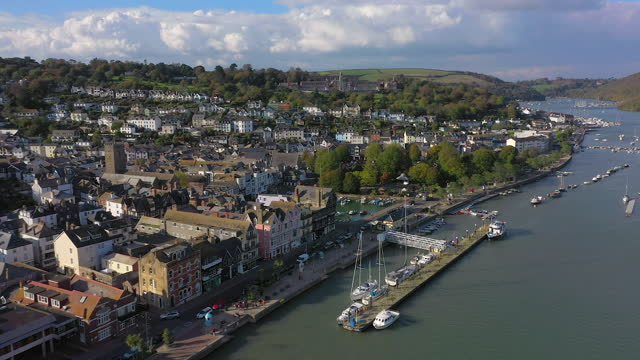 dartmouth, kingswear and the river dart, devon, england - coastal feature stock videos & royalty-free footage