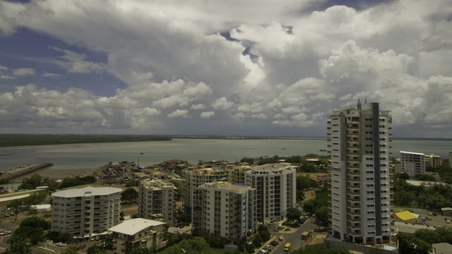 4K Darwin high-rise buildings, harbour and storm clouds, Top End, NT