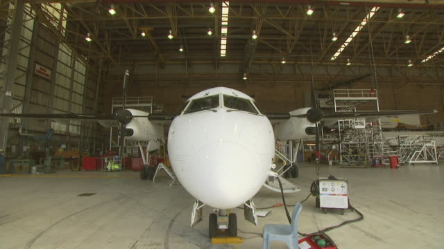 Dash 8 aircraft in hangar, Australia