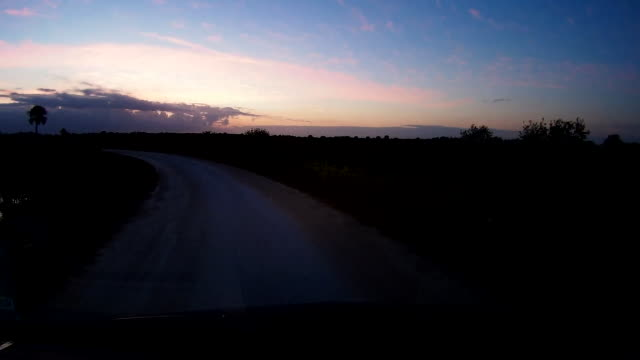 vidéos et rushes de dashboard camera point of view of dirt road driving at twilight - route à une voie
