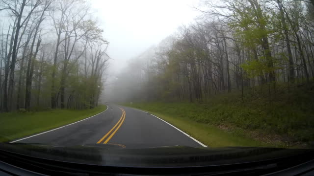 Dashboard camera point of view of driving in the rain