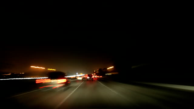 dashcam 5 hd freeway traffic at night - high speed photography stock videos & royalty-free footage