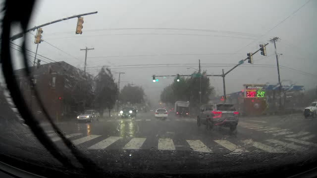 Dashcam POV of rainstorm and Raceway gas station