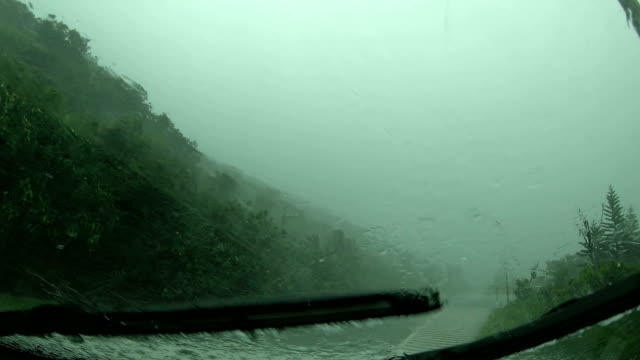 dashcam view driving in powerful wind and torrential rain of tropical storm bailu in taiwan - taiwan stock videos & royalty-free footage