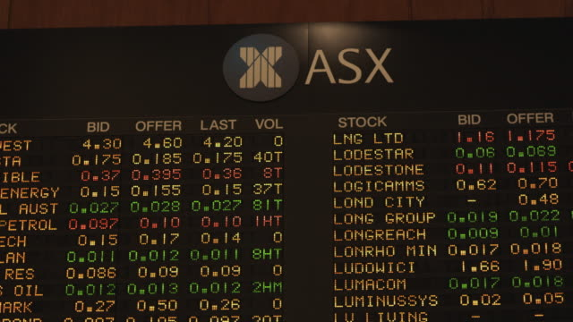 cu focusing data board of australian stock exchange (asx) / sydney, new south wales, australia - economy stock videos & royalty-free footage