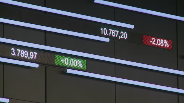 CU Data on trading board at Frankfurt Stock Exchange / Frankfurt Main, Hessen, Germany