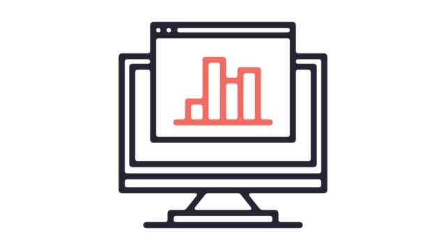 data science competition line icon animation with alpha - line graph stock videos & royalty-free footage
